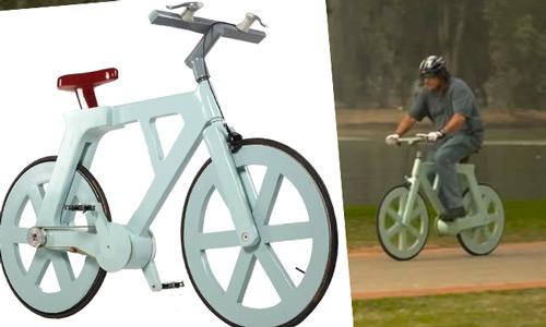 Es una bici, es de cartón y podría costar 10 dólares fabricarla