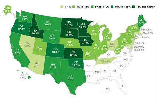 La eólica genera ya el 4 por ciento de la electricidad de Estados Unidos