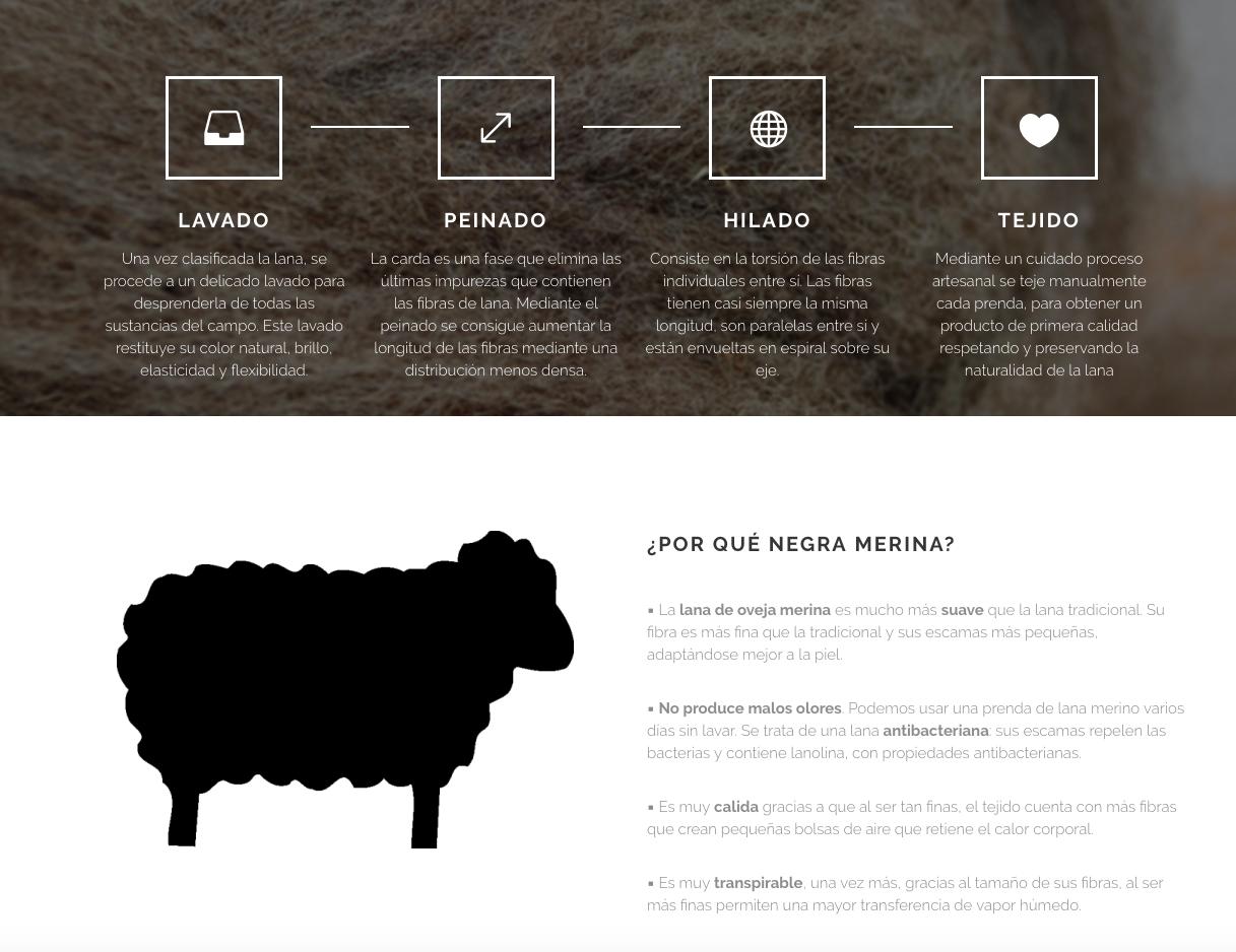 Negra merina oveja Extremadura tienda textil