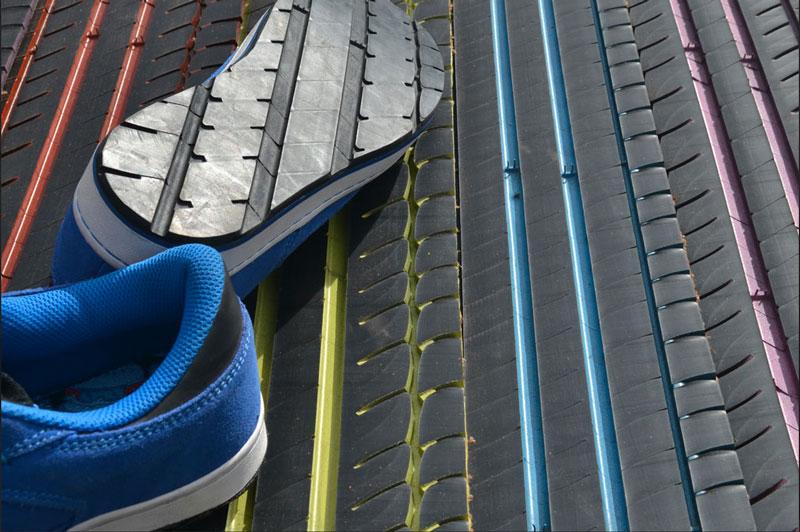 reciclaje neumáticos en suela de zapatos