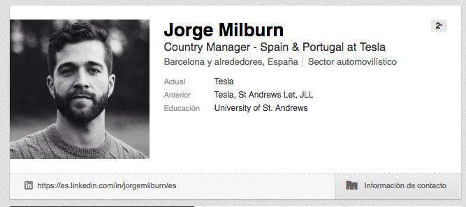 Tesla motors españa Jorge Milburn