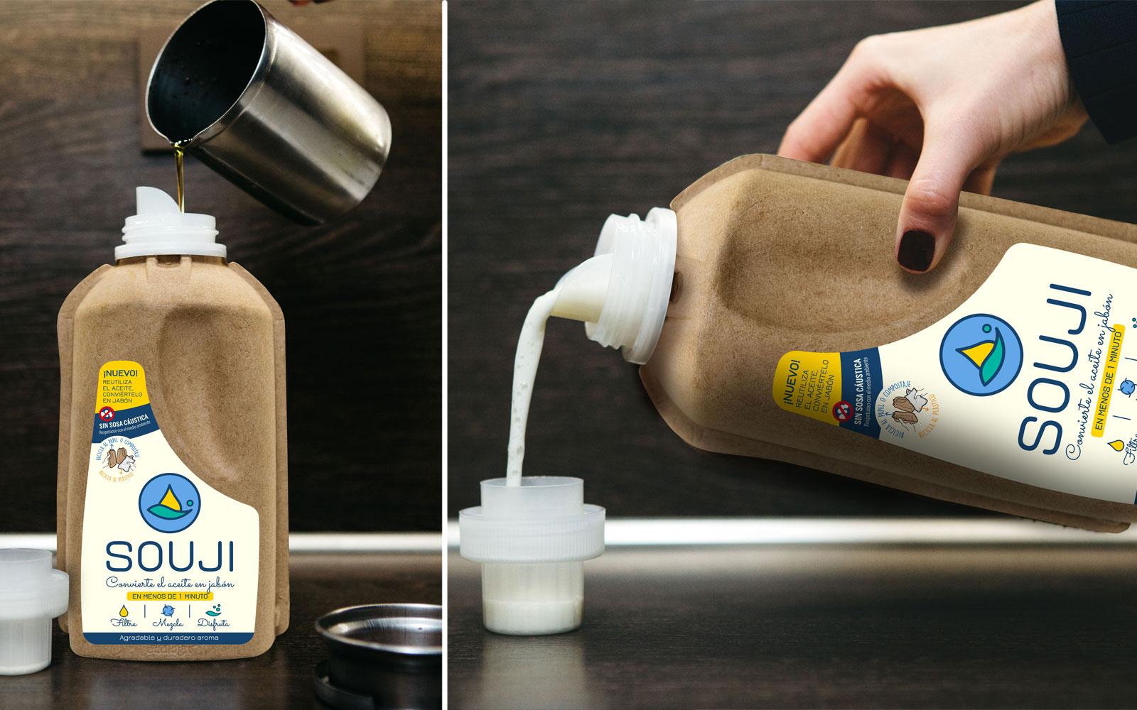 Souji botella reciclaje aceite fabricar jabon
