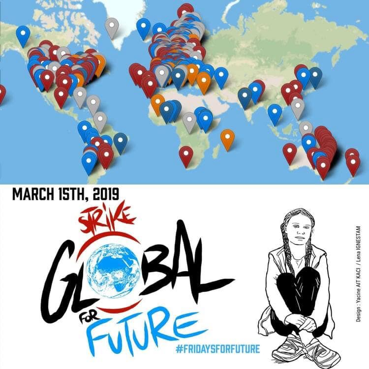 Greta Thunberg Fridays for future huelga por el clima mapa