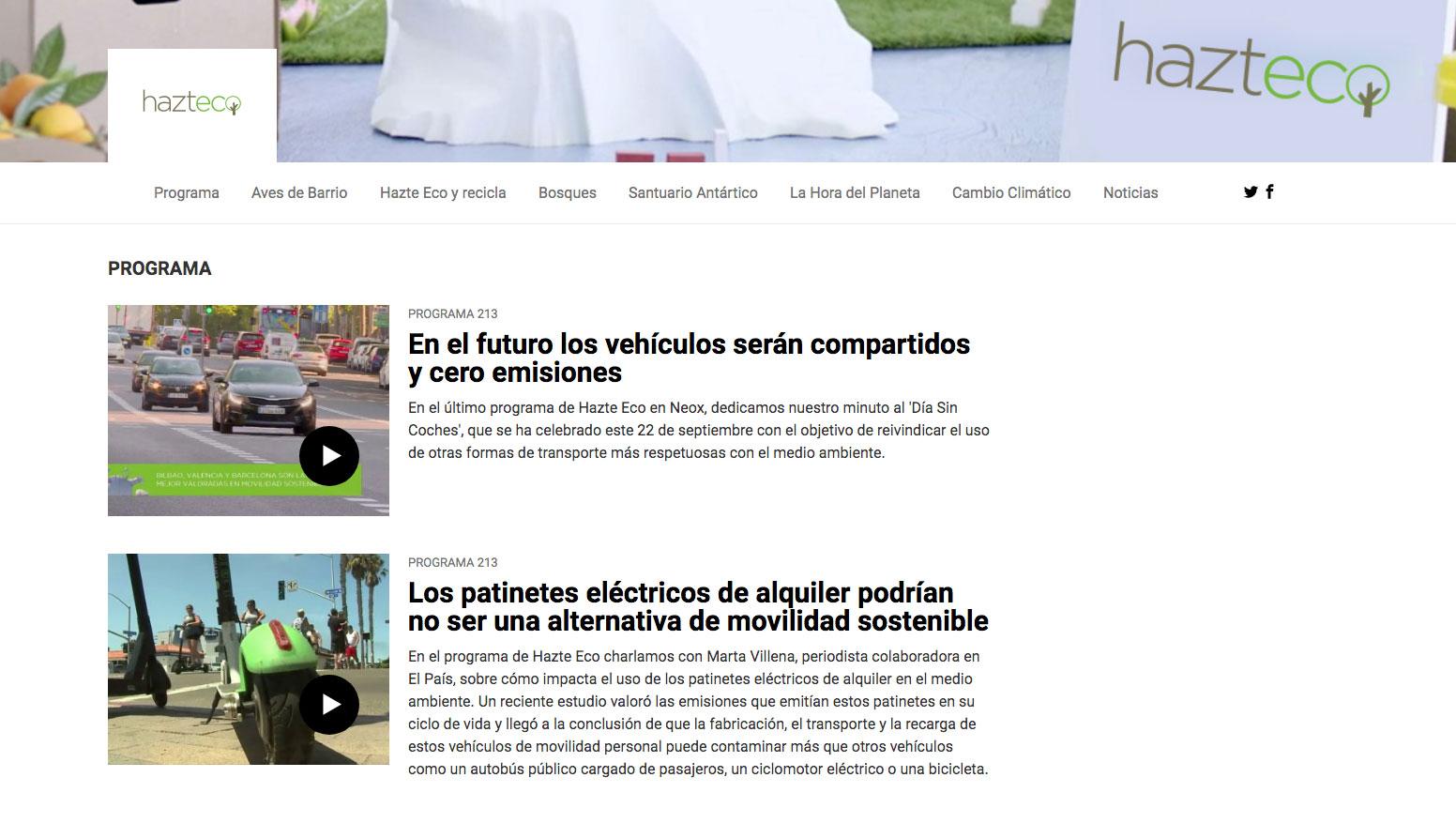 Programa Hazte Eco Neox María José Celada ecología televisión.