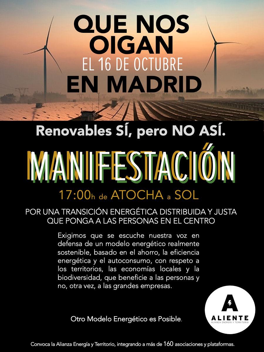 Aliente manifestación Madrid transición energética